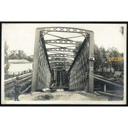 Felrobbantott vasúti híd, Kowel, Ukrajna, 1. Világháború, 1916, 1910-es évek, Eredeti fotó képeslap, papírkép.