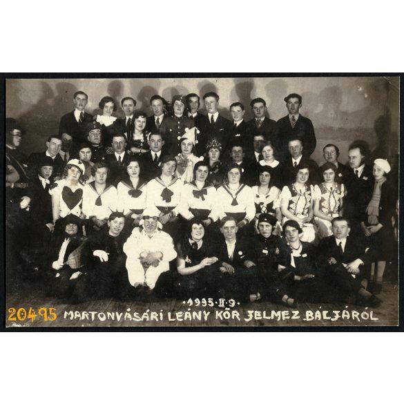 Martonvásár, leánykör jelmezbálja, farsang, árnyékok, 1935, 1930-as évek, Eredeti fotó, papírkép.