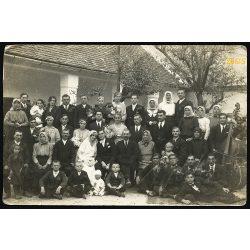 Obernyik műterem, Mór, esküvő, menyasszony, cigányzenekar, ünnep, 1920-as évek, Eredeti fotó, papírkép.