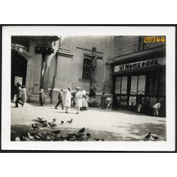 Ferenciek tere, Új Nemzedék szerkesztőség, templom, Budapest, 1930-as évek, Eredeti fotó, papírkép.