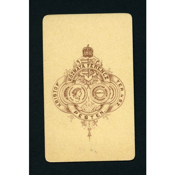 Kózmata műterem, Pest, elegáns hölgy nyaklánccal, portré, 1860-as évek, Eredeti CDV, vizitkártya fotó.
