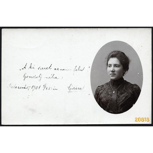Elegáns hölgy nyaklánccal, Kolozsvár, Erdély, 1901, 1900-as évek, Eredeti fotó, papírkép.