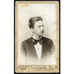 Horváth műterem, Nagyenyed, Erdély, elegáns férfi csokornyakkendővel, 1890-es évek, Eredeti CDV, vizitkártya fotó.