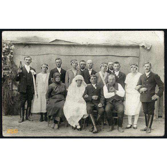 Vidéki lakodalom, esküvő, menyasszony, ünnep, 1920-as évek, Eredeti fotó, papírkép.