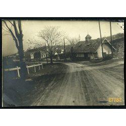Pálvölgy, országút házakkal, utcakép, Budapest, 1920-as évek, Eredeti fotó, papírkép.