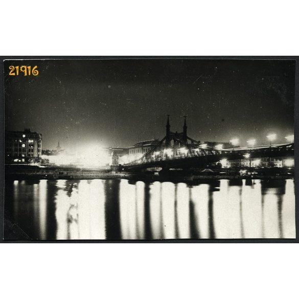 Esti fények, Duna, Szabadság híd, tükröződés, Budapest, 1930-as évek, Eredeti fotó, papírkép.