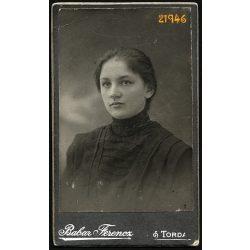 Babar műterem, Torda, Erdély, Pethő Erzsébet, elegáns hölgy portréja, 1910, 1910-es évek, Eredeti CDV, vizitkártya fotó.
