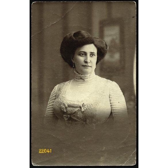 Waitzner műterem, gyönyörű, elegáns nő portréja, Budapest, 1890-as évek, Eredeti fotó, papírkép.
