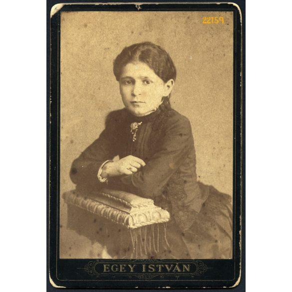 Egey műterem, Debrecen (?), elegáns hölgy könyöklőn, portré, 1880-as évek, Eredeti kabinet fotó.
