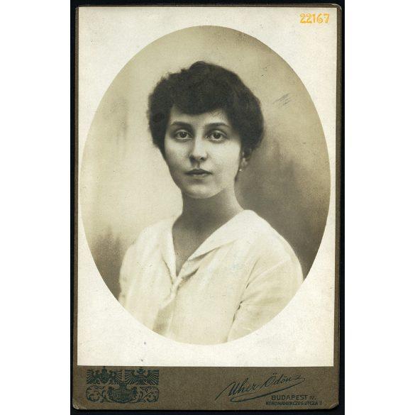 Uher műterem, Teischler (?) Sarolta, elegáns modern hölgy, Budapest, portré, 1910-es évek, Eredeti kabinet fotó.