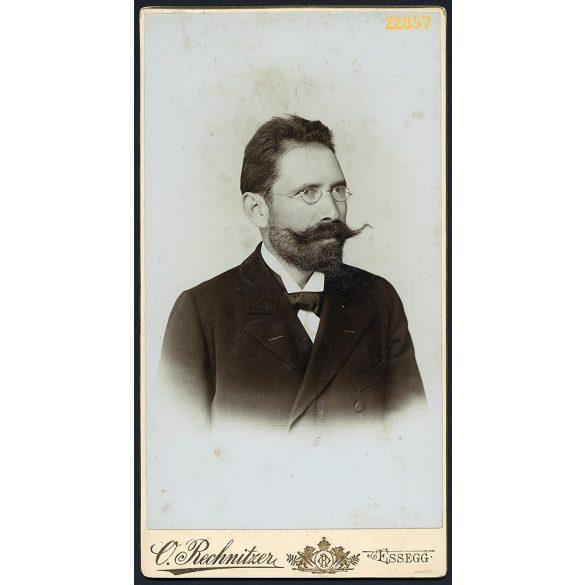 Rechnitzer Ottokar műterme, Eszék (Essegg), Vajdaság, Délvidék, elegáns úr hatalmas bajusszal, szemüveg, portré, 1880-as évek, Eredeti nagyobb méretű kabinet fotó.