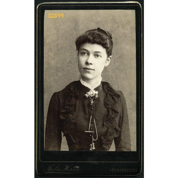 Herter Júlia műterme, Nagyszeben, Hermannstadt, Erdély, elegáns hölgy portréja, 1880-as évek, Eredeti CDV, vizitkártya fotó.