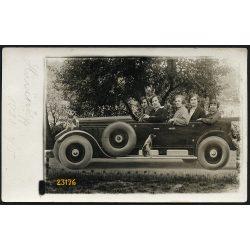 Lányok, kirándulók különös gépkocsiban, autó, vicces, Hűvösvölgy, Budapest, 1928, 1920-as évek, Eredeti fotó, papírkép.