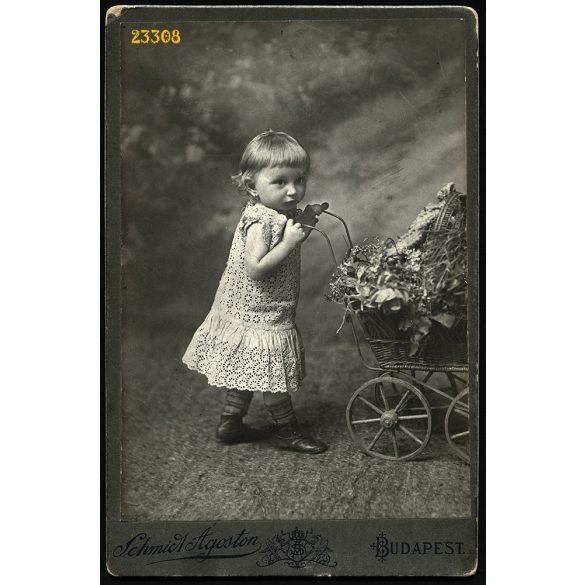Schmidt Ágoston műterme, kislány játék babakocsival, Budapest, portré, 1910-es évek, Eredeti kabinet fotó.