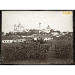Magyar katonák tábori misén, 1. világháború, Poczajów, keleti hadszíntér, 1915. október 10,  1910-es évek, Eredeti fotó, papírkép.
