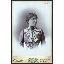 Mai és Társa műterem, Budapest, elegáns karcsú hölgy portréja, 1900-as évek, Eredeti kabinet fotó, gyönyörű hátlappal, rajta a mester műtermének rajzával.
