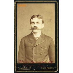 Ciehulski műterem, Marosvásárhely, Erdély, elegáns férfi hatalmas bajusszal, születésnapi portré, 1870-es évek, Eredeti CDV, vizitkártya fotó.