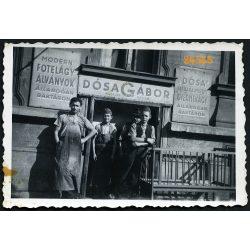 Dósa Gábor asztalos mester műhelye, üzlet, kirakat, foglalkozás, munkás,  1930-as évek, Eredeti fotó, papírkép.