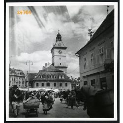 Vásár a főtéren, Brassó, Erdély, városháza, parasztok, 1933, 1930-as évek, Eredeti fotó, papírkép.