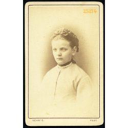 Gévay műterem, Pest, elegáns hölgy portréja, 1860-as évek, Eredeti CDV, vizitkártya fotó.
