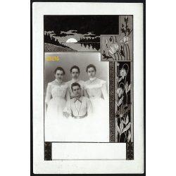 Raab műterem, Győr, elegáns hölgyek különös portréja,  1900-as évek, Eredeti fotó, papírkép.   méret megközelítőleg (centiméterben): 9 x 13.5