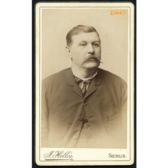 Hollós műterem, Zimony (Semlin), Vajdaság, Lisztl Antal portréja, bajusz, 1890-es évek, Eredeti CDV, vizitkártya fotó.