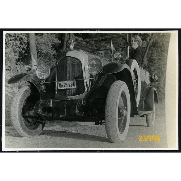 Citroen 5 CV kabrió autó budapesti rendszámmal, jármű, közlekedés, 1930-as évek, Eredeti fotó, papírkép.