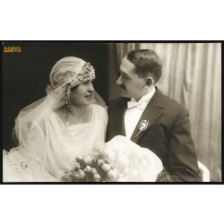 Javorsky műterem, Zenta, Vajdaság, Géza és Mariska esküvője, menyasszony, vőlegény, ünnep, 1927, 1920-as évek, Eredeti fotó, papírkép.