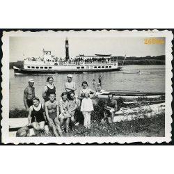 Nyaralók, fürdőzők Szigetszentmártonnál, Duna, hajó, jármű, közlekedés, 1930-as évek, Eredeti fotó, papírkép.