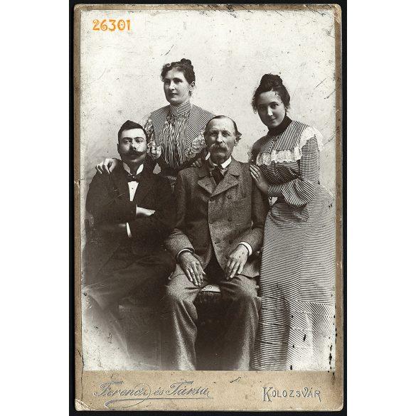 Ferencz és Társa műterem, Kolozsvár, Erdély, családi kép, portré, férfiak bajusszal, 1870-es évek, Eredeti kabinetfotó.