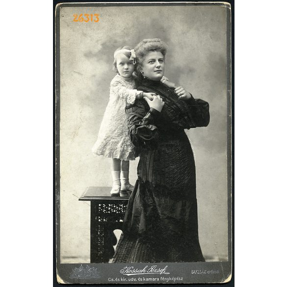 Kossak műterem, Buziás (fürdő), Erdély, elegáns hölgy, anya lányával, portré, 1890-es évek, Eredeti nagyméretű (!) kabinetfotó, sarka sérült.