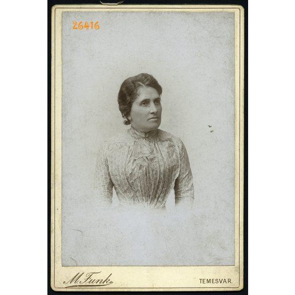 Funk műterem, Temesvár, Erdély, elegáns hölgy portréja, 1890-es évek, Eredeti kabinetfotó.