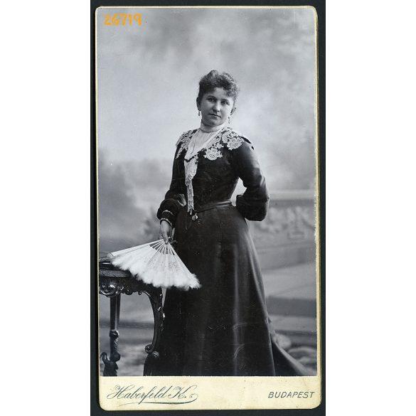 Haberfeld műterem, Budapest, Ronn (?) Zsófia portréja, elegáns hölgy legyezővel, 1890-es évek, Eredeti nagyméretű (!) kabinetfotó.