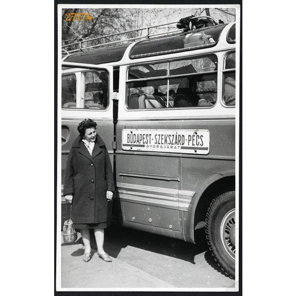 Ikarus autóbusz, Budapest-Szekszárd-Pécs gyorsjárat, jármű, közlekedés, 1978, 1970-es évek, Eredeti fotó, papírkép.