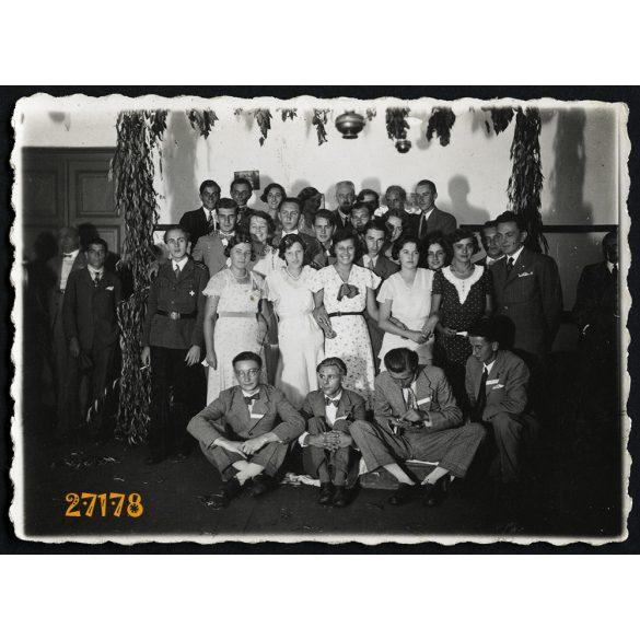 Szatymaz, csoportkép egyenruhás férfiakkal, katona, 1932, 1930-as évek, Eredeti fotó, papírkép.