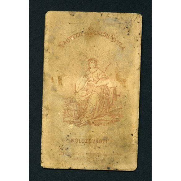 Tauffer és Veress műterem, Kolozsvár, Erdély, szakállas úr portréja, 1870-es évek, Eredeti CDV, vizitkártya fotó.