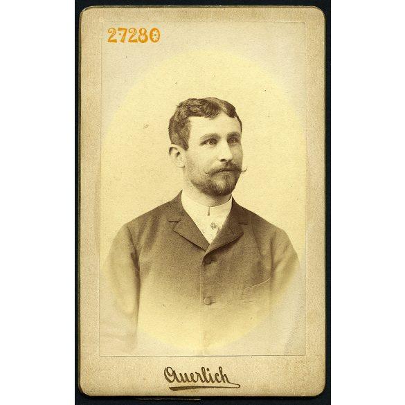 Auerlich műterem, Nagyszeben, (Hermanstadt), Erdély, Pál Hugó portréja, (Szábel Berta férje), 1892, 1890-es évek, Eredeti CDV, vizitkártya fotó.