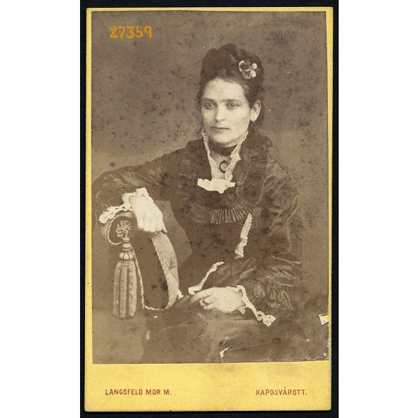 Langsfeld műterem, Kaposvár, elegáns hölgy portréja, 1860-as évek, Eredeti CDV, vizitkártya fotó.
