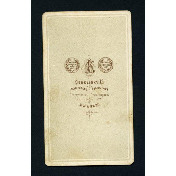 Strelisky műterem, Pest, elegáns hölgy gyönyörű hajjal, portré, 1860-as, Eredeti CDV, vizitkártya fotó.