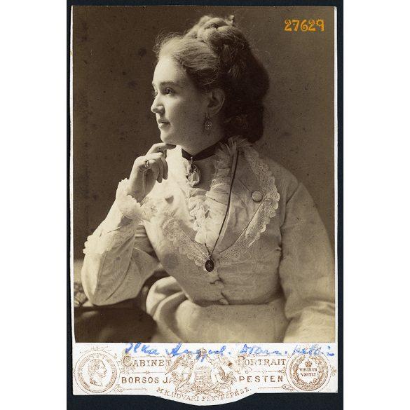 Borsos műterem, Pest, Angyal Ilka színésznő portréja, művész, gyönyörű nő, 1860-as évek, Eredeti kabinetfotó, alja vágott.
