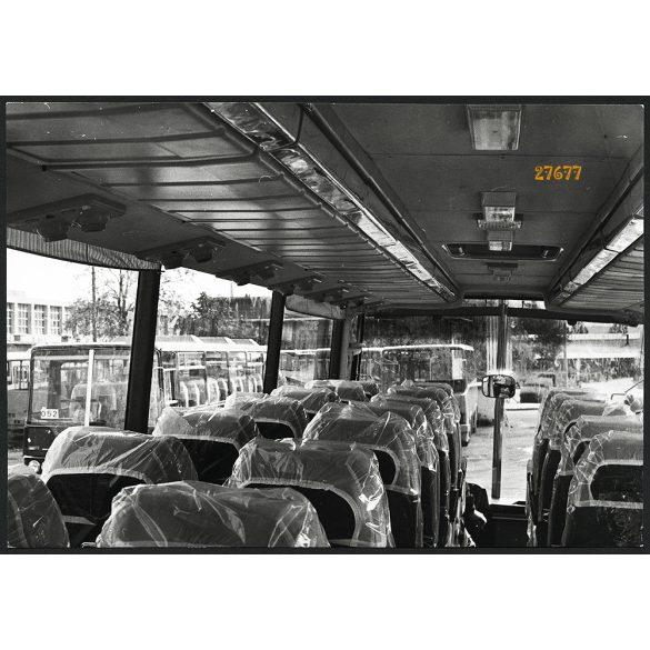 Ikarus 254 Tourist autóbusz beltere, utastér, jármű, közlekedés, busz, 1970-es évek, Eredeti nagyobb méretű gyári fotó, papírkép.