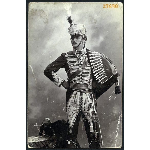 Császár Imre színész  Simonyi óbester, a 'legvitézebb huszár' szerepében, egyenruha, színház, művész, 1903. 1990-as évek, Eredeti fotó, papírkép.