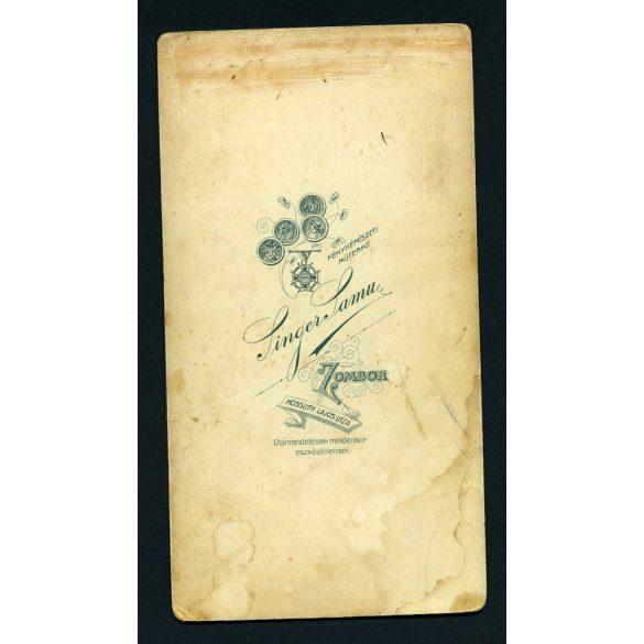Singer műterem, Zombor, Vajdaság, gyönyörű karcsú hölgy portréja, festett háttér, 1890-es évek, Eredeti nagyméretű (!) kabinetfotó.