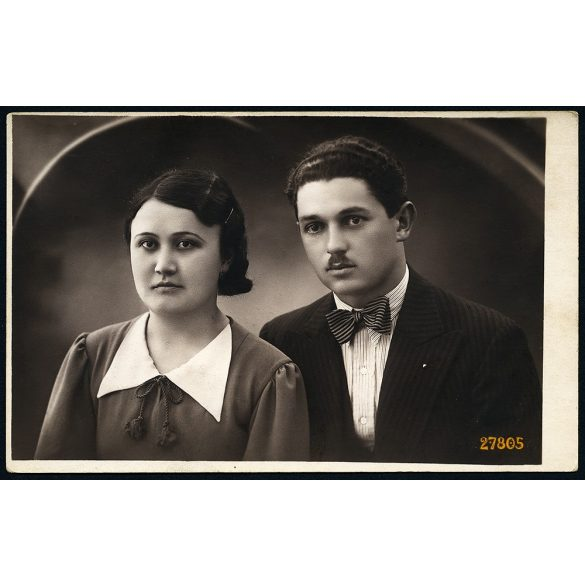 Szombathy Nővérek műterem, Cegléd, Várkonyi István és neje, fiatal pár portréja, 1936, 1930-as évek, Eredeti fotó, papírkép.