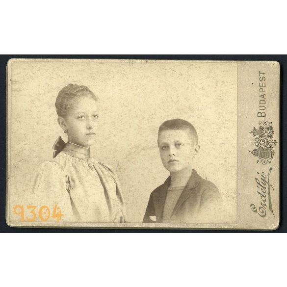 Vizitkártya, CDV, Erdélyi műterem, Budapest, testvérek, Méhely Mária énekesnő, Méhely Kálmán közgazdasági író, egyetemi tanár 1895, Eredeti fotó, papírkép.