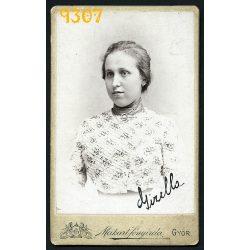 Vizitkártya, CDV, Győr, Makart fényirda, műterem, lány, Gizella portréja,  1890-es évek, Eredeti fotó, papírkép.